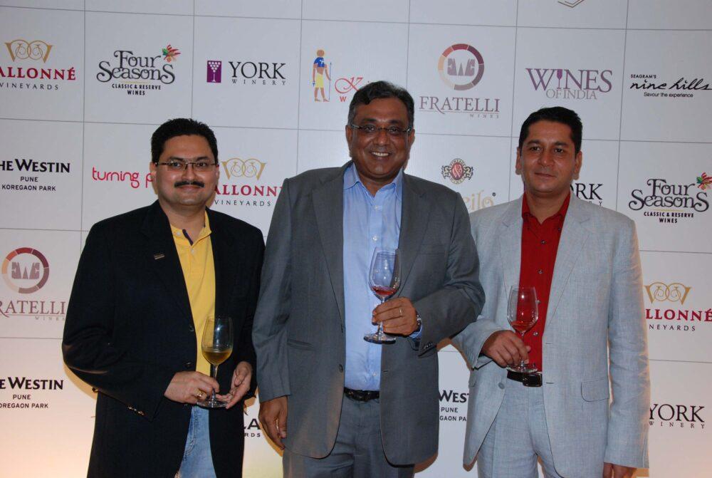 From Left to right Sujeet Kumar - Dilip Puri - Vikas Malik at Wines of India at The Westin Pune Koregaon Park.jpg