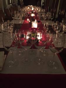 Table set for a Wine Appreciation Evening at The Trident, Gurgaon, for The Wine Society, Delhi