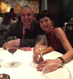 Etienne and Kaoru Hugel at a dinner in Chennai, India