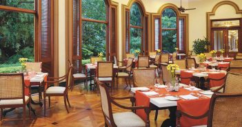 A glass of wine, Le Jardin restaurant at the Oberoi Bengaluru
