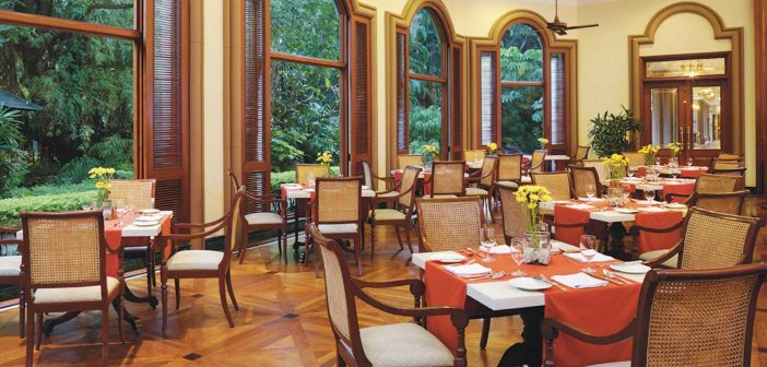 A glass of wine, Le Jardin restaurant at the OberoiBengaluru